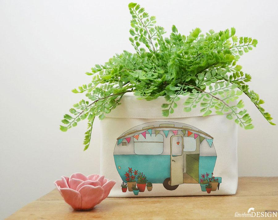 Caravan Canvas Storage Box by Ceridwen Hazelchild Design