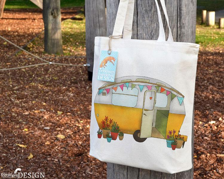 Yellow Caravan Tote Bag by Ceridwen Hazelchild Design.
