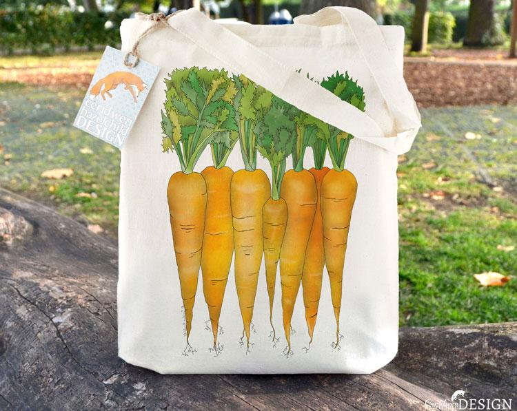 Carrots Tote Bag by Ceridwen Hazelchild Design.