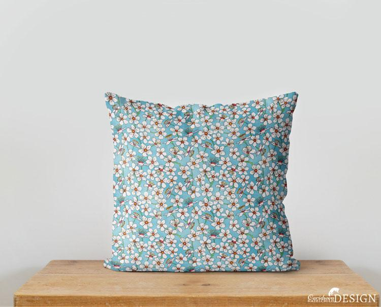 Cherry Blossom Cushion Cover by Ceridwen Hazelchild Design.