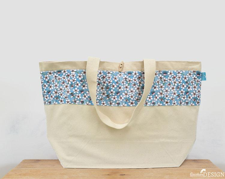 Cherry Blossom Large Canvas Tote Bag by Ceridwen Hazelchild Design.
