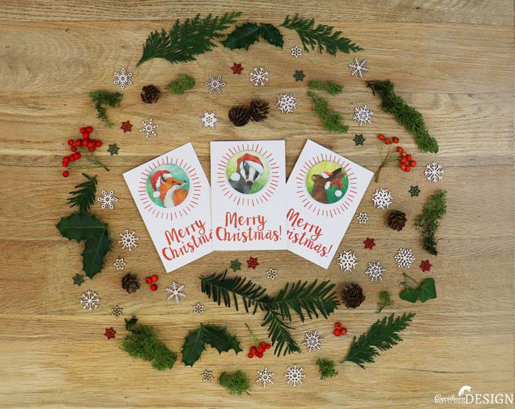 Hare Christmas Badge Card