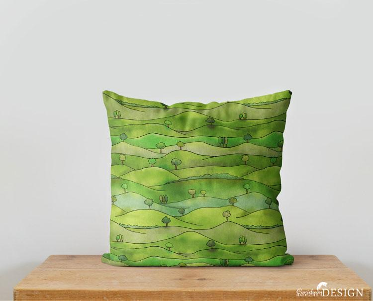Countryside Cushion Cover by Ceridwen Hazelchild Design.