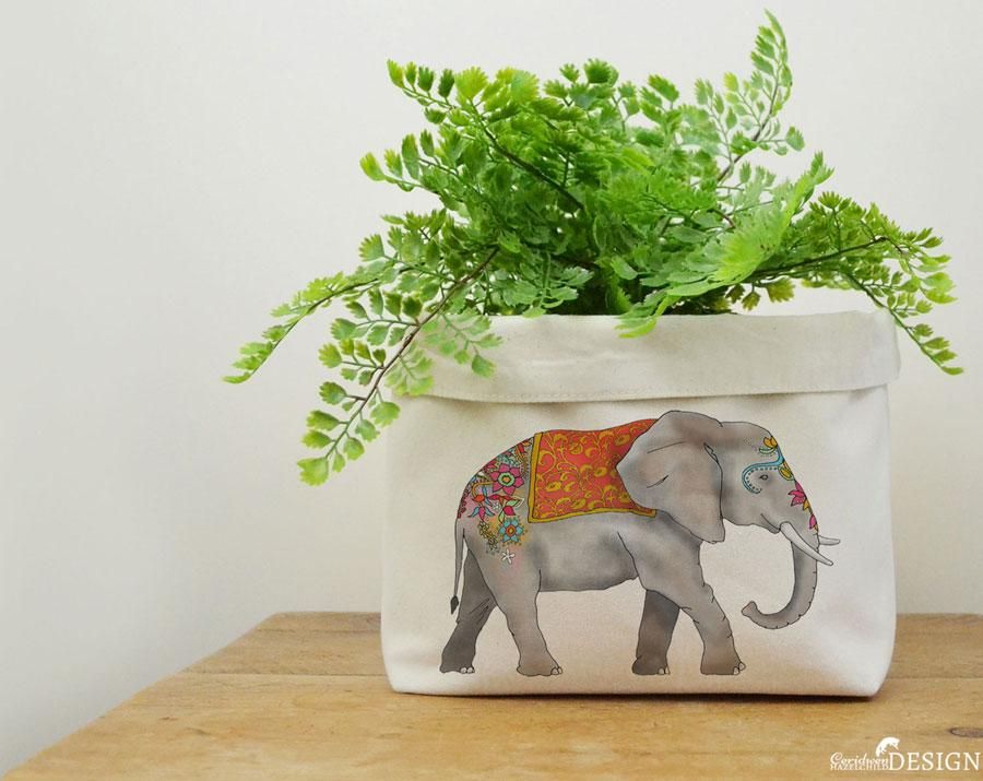 Elephant Canvas Storage Box by Ceridwen Hazelchild