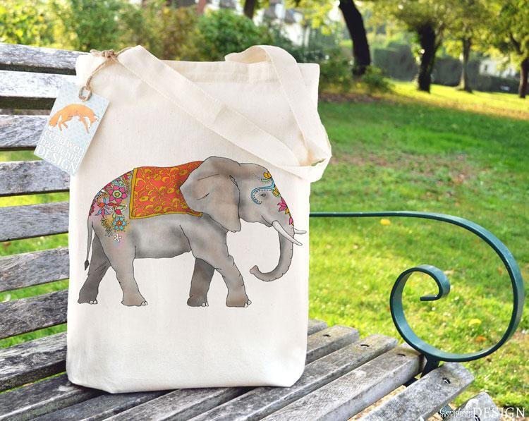 Elephant Tote Bag by Ceridwen Hazelchild Design.