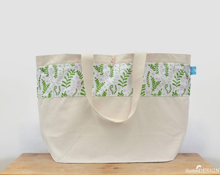Ferns Large Canvas Tote Bag by Ceridwen Hazelchild Design.
