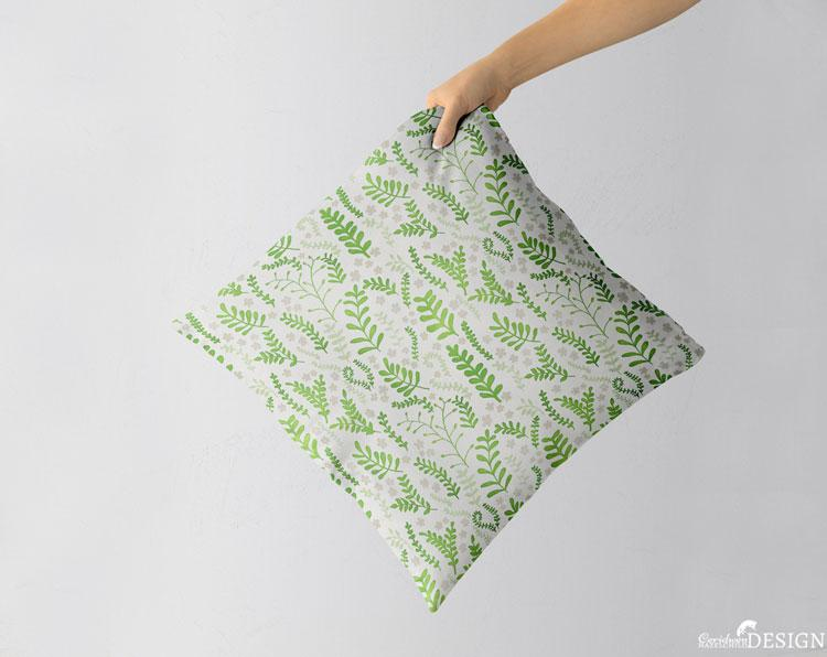 Green Ferns Cushion Cover by Ceridwen Hazelchild Design.
