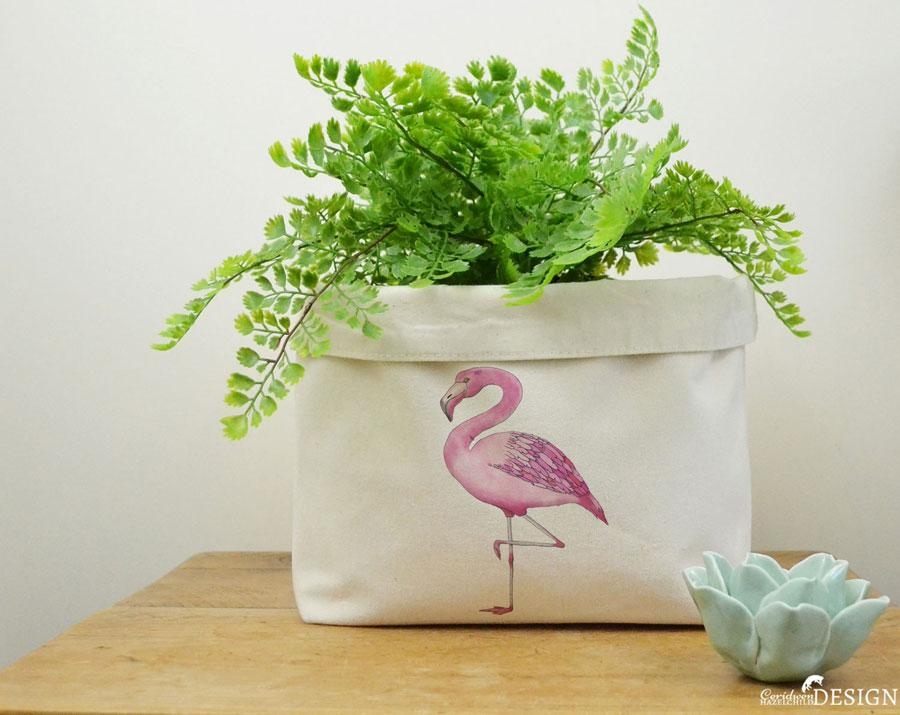 Flamingo Canvas Storage Box by Ceridwen Hazelchild Design