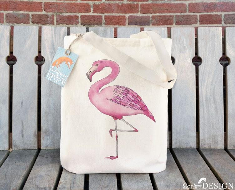 Flamingo Tote Bag by Ceridwen Hazelchild Design.