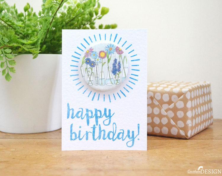 Flower Birthday Badge Card