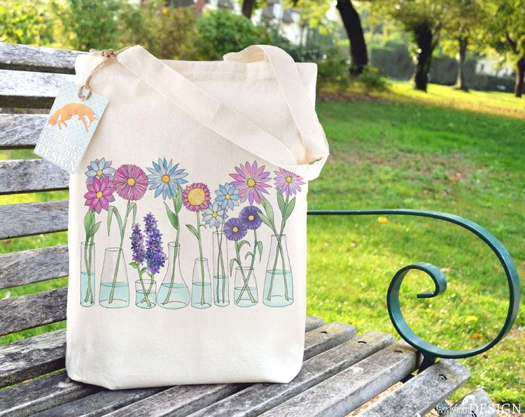 Flowers Tote Bag by Ceridwen Hazelchild Design.