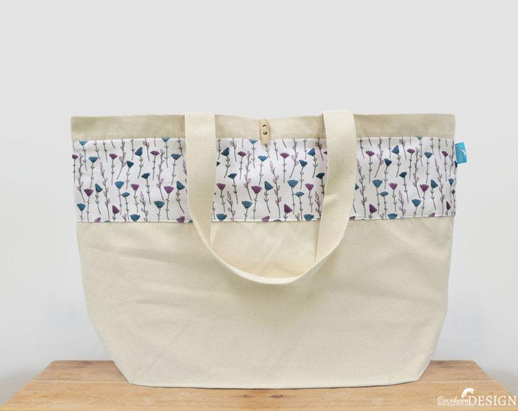 Flowers Large Canvas Tote Bag by Ceridwen Hazelchild Design.