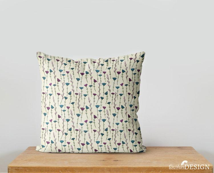 Flowers Cushion Cover by Ceridwen Hazelchild Design.