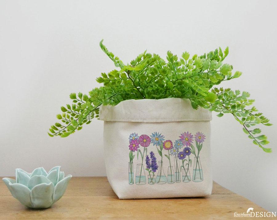 Flowers Canvas Storage Box by Ceridwen Hazelchild Design