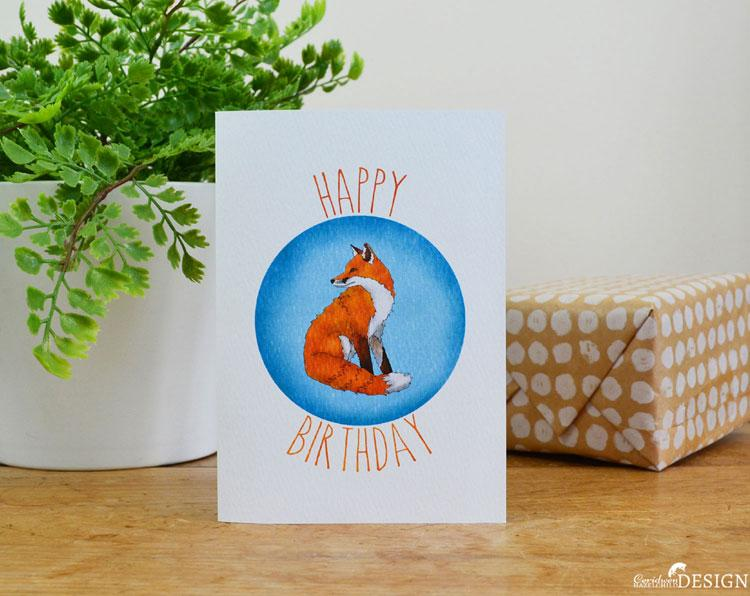 Fox Birthday Card by Ceridwen Hazelchild Design.