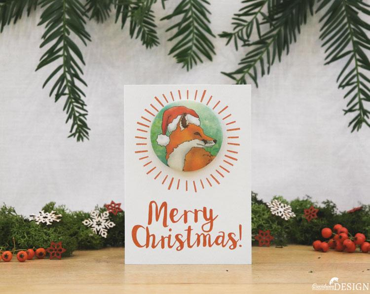 Fox Christmas Badge Card