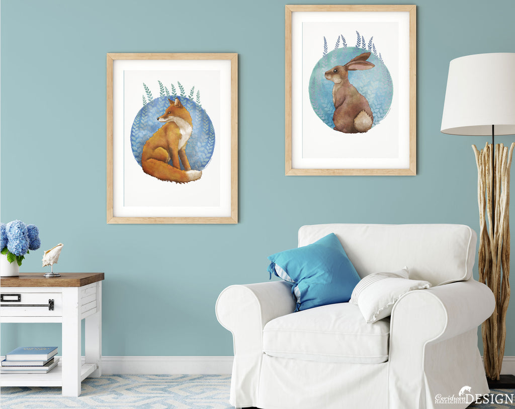 woodland Animal illustration Art Prints by Ceridwen Hazelchild on a living room wall.