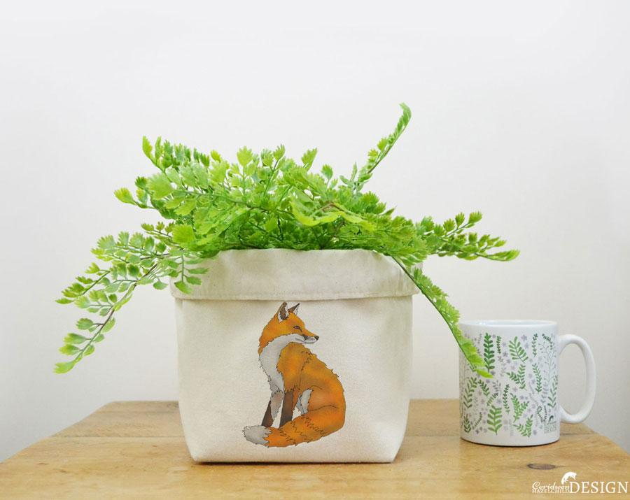 Fox Canvas Storage Box by Ceridwen Hazelchild