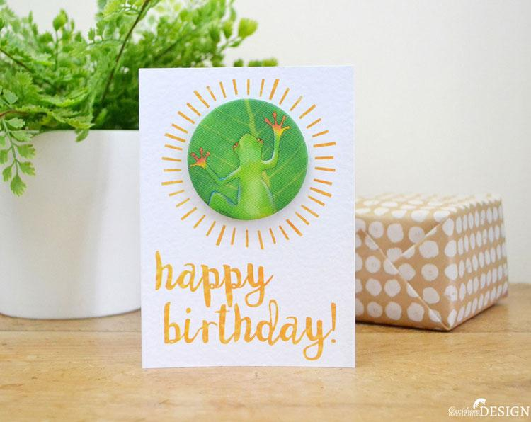 Frog Birthday Badge Card