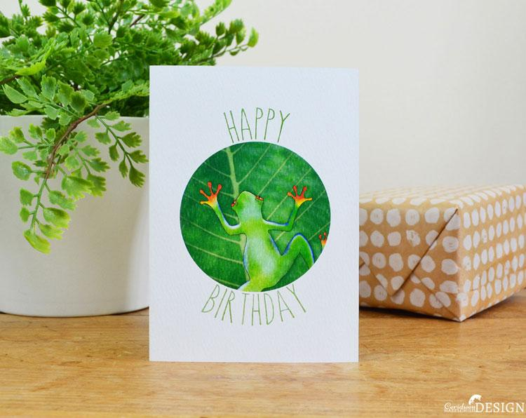 Frog Birthday Card by Ceridwen Hazelchild Design.