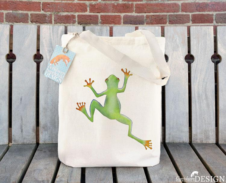 Tree Frog Tote Bag by Ceridwen Hazelchild Design.