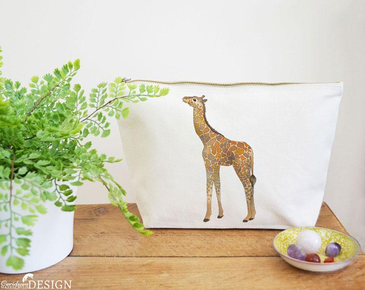 Giraffe Canvas Wash Bag by Ceridwen Hazelchild Design.