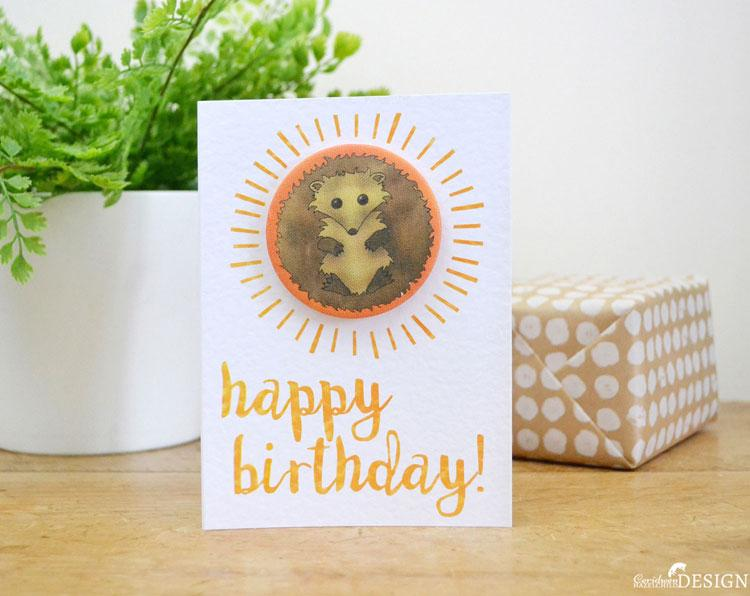 Hedgehog Birthday Badge Card