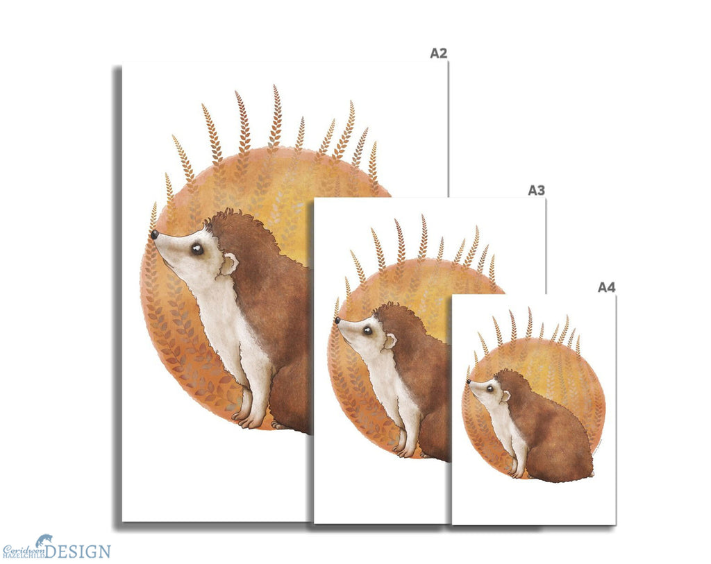 Hedgehog Art Print by Ceridwen Hazelchild, in three sizes, A4, A3, and A2