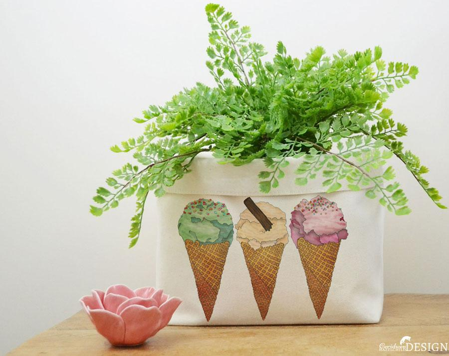 Ice Cream Canvas Storage Box by Ceridwen Hazelchild
