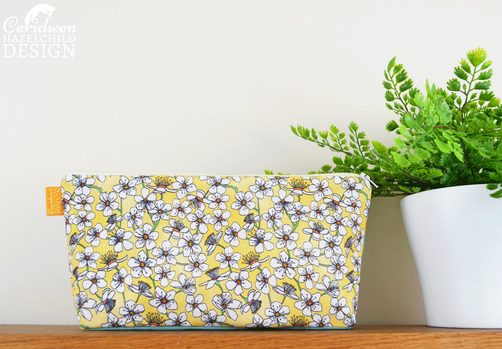 Yellow Cherry Flower Pattern Toiletry Wash Bag