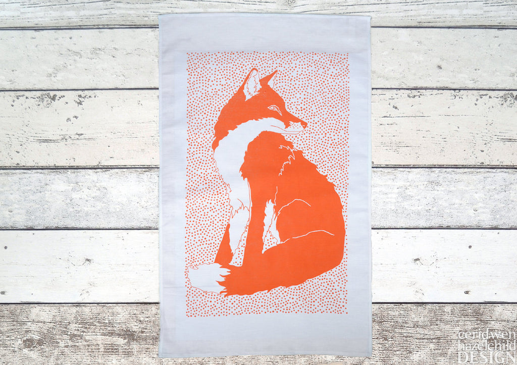 Fox Tea Towel, Screen Printed Tea Towel