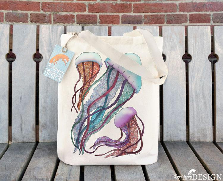 Jellyfish Tote Bag by Ceridwen Hazelchild Design.