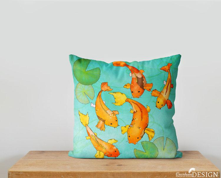 Koi Carp Cushion Cover by Ceridwen Hazelchild Design.
