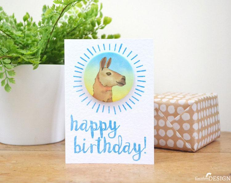 Llama Birthday Badge Card