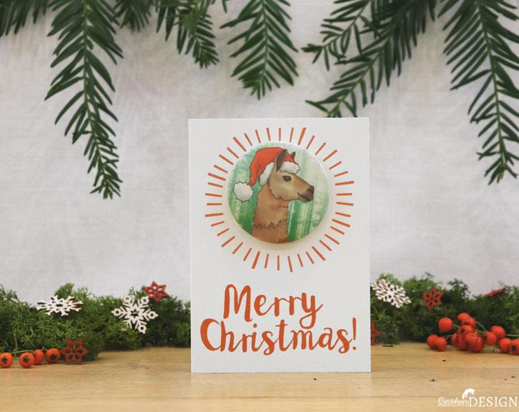 Llama Christmas Badge Card