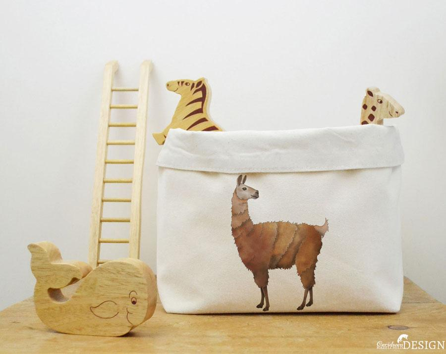 Llama Canvas Storage Box by Ceridwen Hazelchild