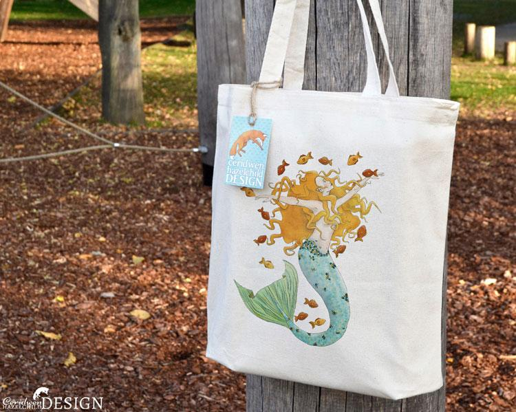 Mermaid Tote Bag by Ceridwen Hazelchild Design.