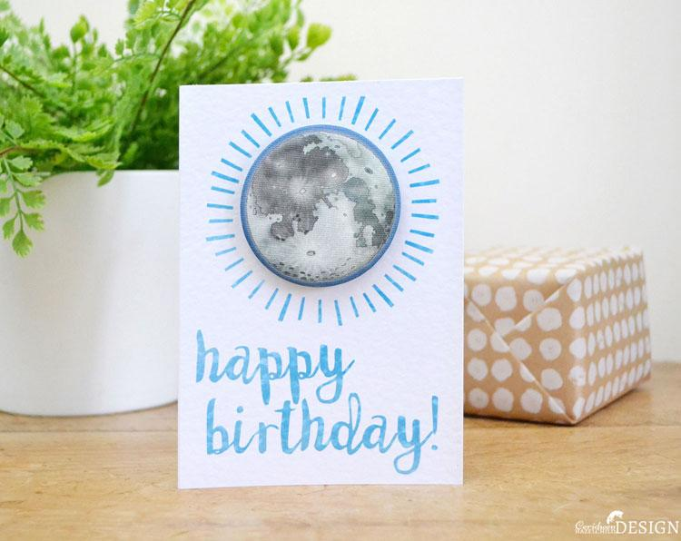 Moon Birthday Badge Card