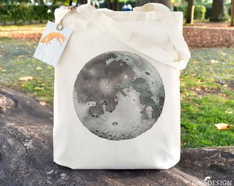 Moon Tote Bag by Ceridwen Hazelchild Design.