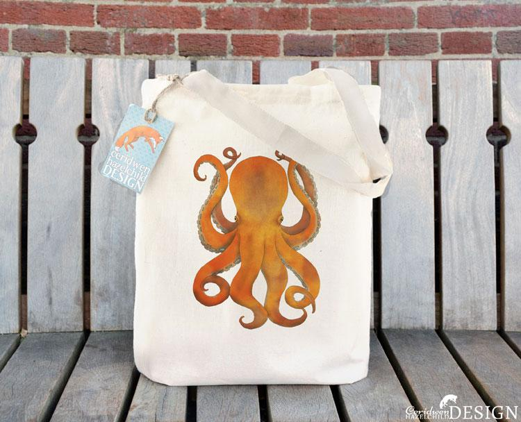 Octopus Tote Bag by Ceridwen Hazelchild Design.