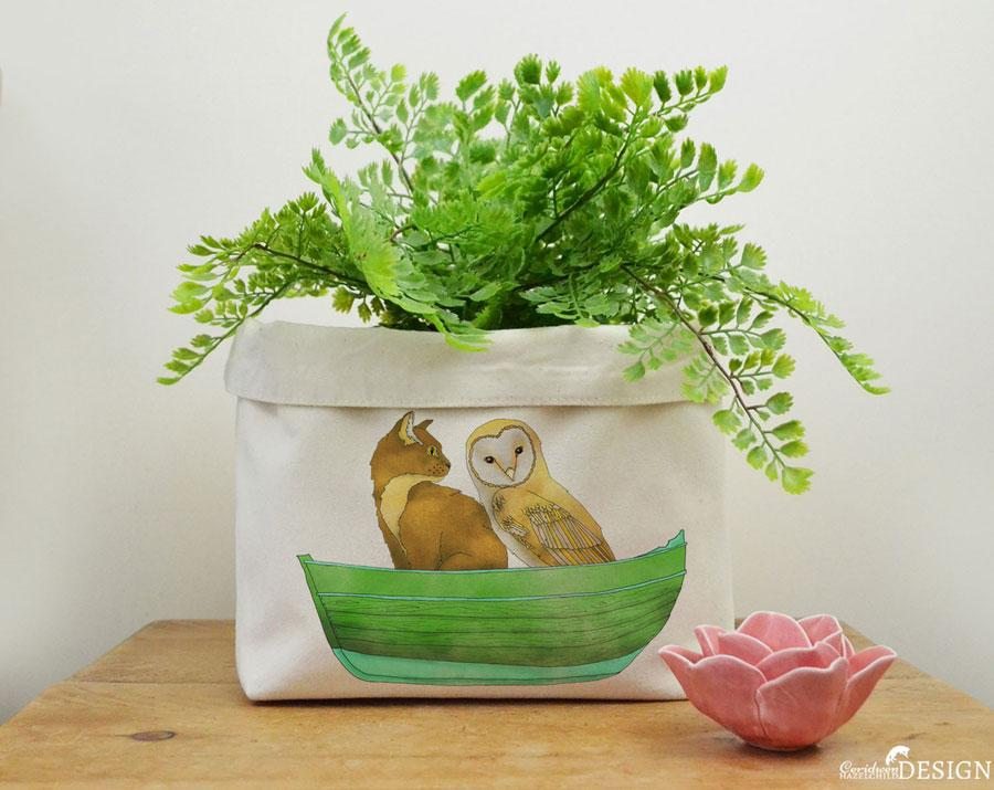 Owl and the Pussy Cat Canvas Storage Box by Ceridwen Hazelchild Design.