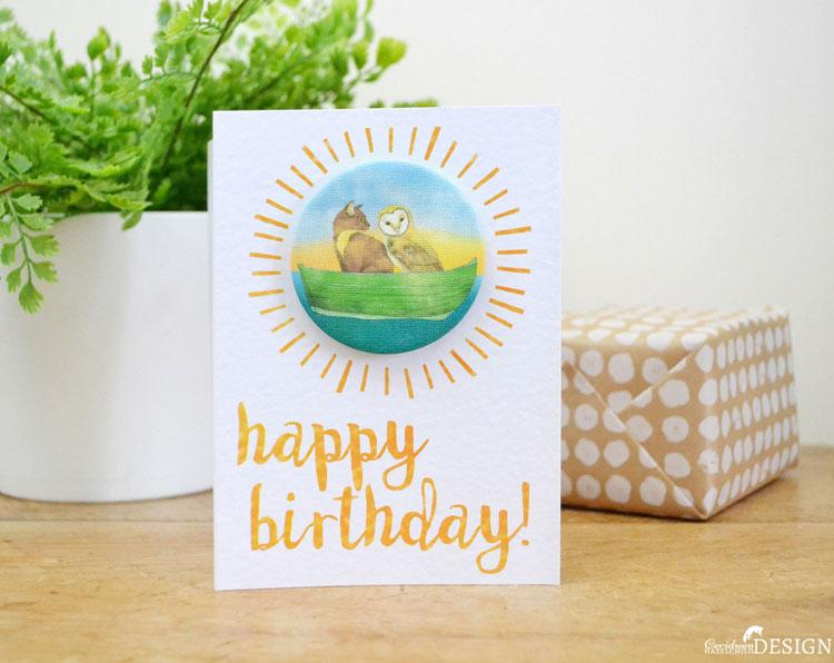 Owl and Pussy Cat Birthday Badge Card