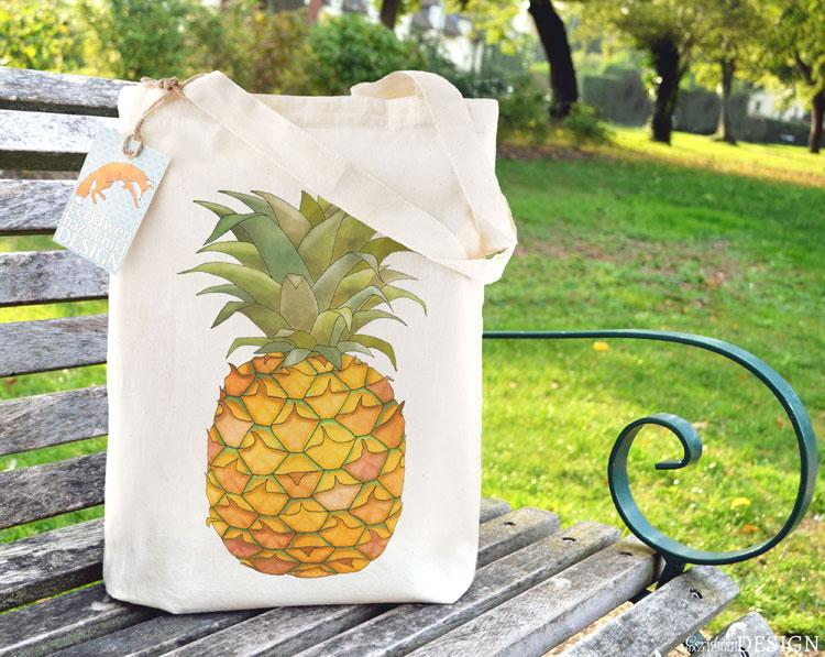 Pineapple Tote Bag by Ceridwen Hazelchild Design.