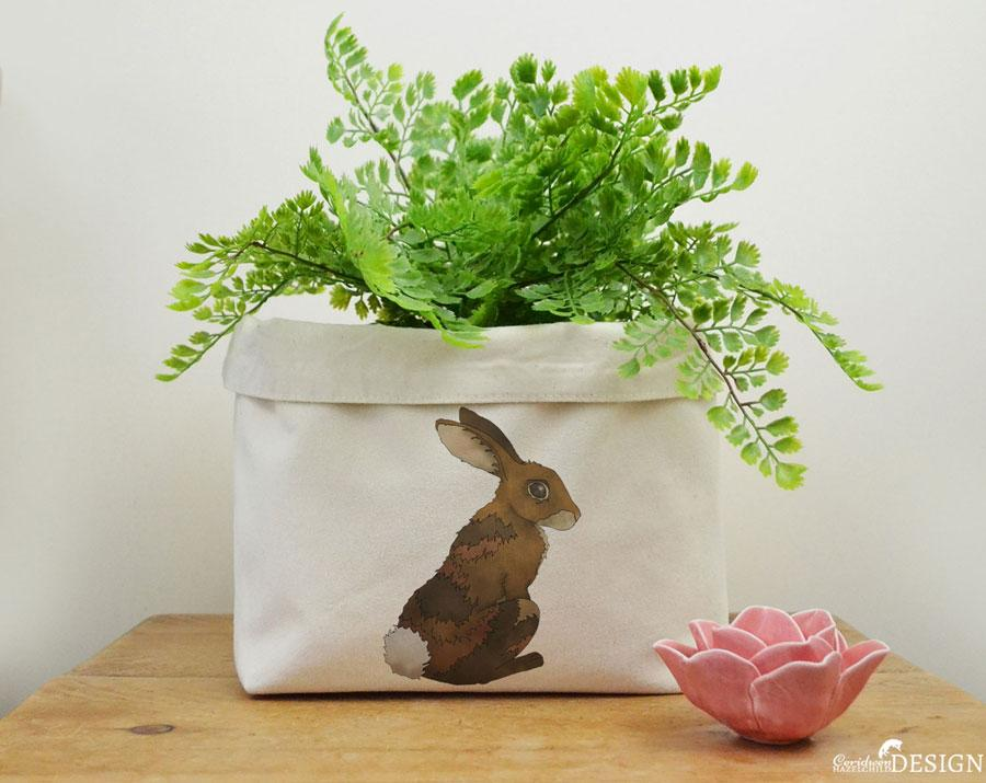 Rabbit Canvas Storage Box by Ceridwen Hazelchild Design.