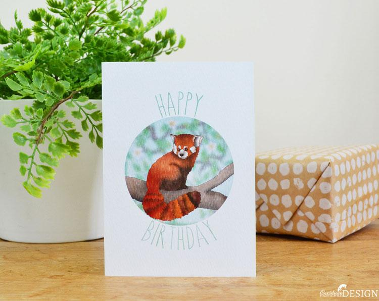 Red Panda Birthday Card by Ceridwen Hazelchild Design.