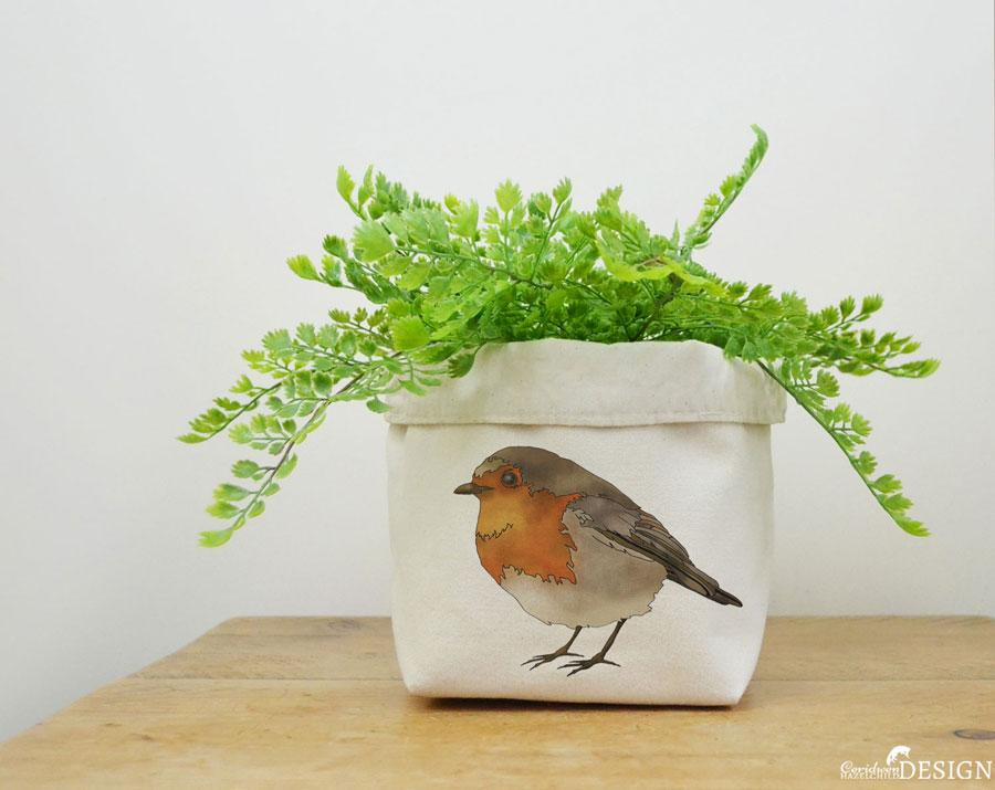 Robin Canvas Storage Box by Ceridwen Hazelchild Design.