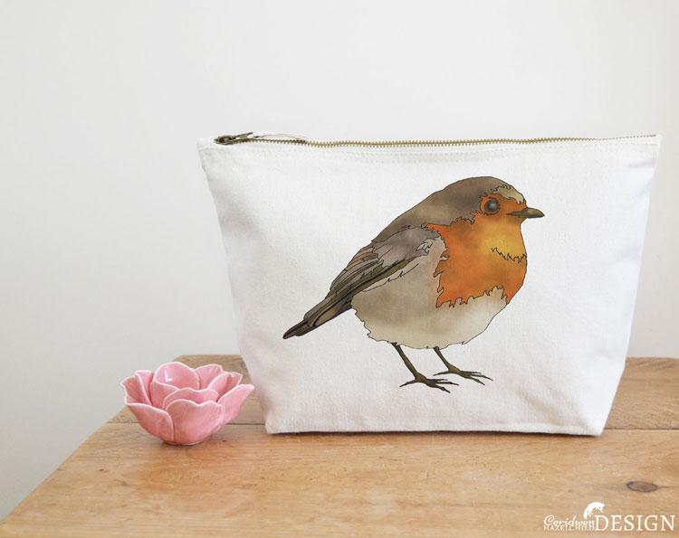 Robin Canvas Wash Bag by Ceridwen Hazelchild Design.