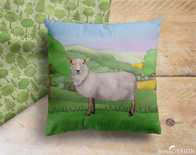 Sheep Cushion Cover by Ceridwen Hazelchild Design.
