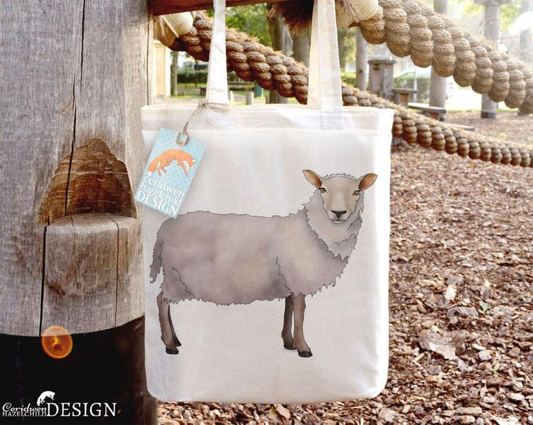 Sheep Tote Bag by Ceridwen Hazelchild Design.