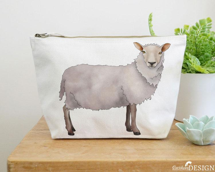 Sheep Canvas Wash Bag by Ceridwen Hazelchild Design.